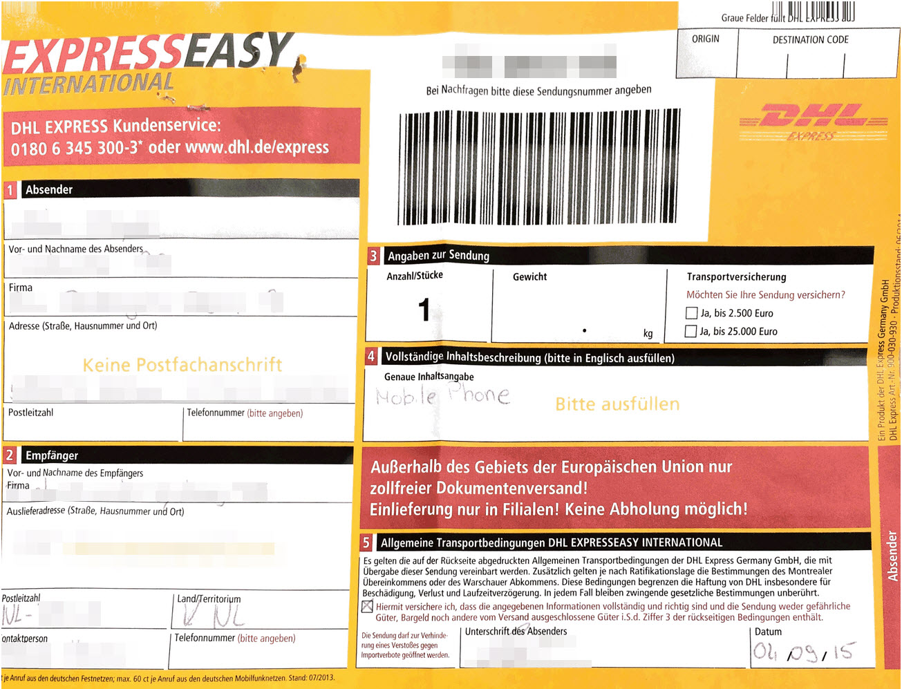 DHL ExpressEasy International
